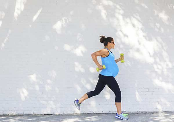 Pregnant lady running