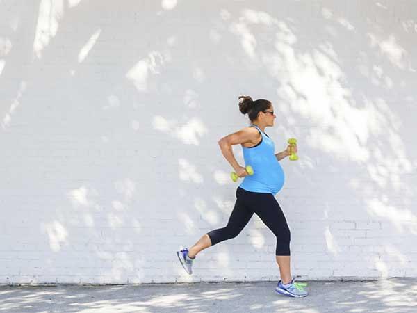 Pregnant lady running